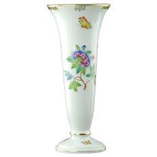Vintage Herend Porcelain Queen Victoria Trumpet Form Vase with Gilded Accents