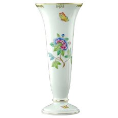 Vintage Herend Porcelain Queen Victoria Trumpet Form Vase with Gilded Accents