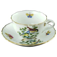 Vintage Herend Gilt Trimmed Porcelain Rothschild Bird Mocha Cup with Matched Saucer