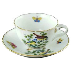 Vintage Herend Gilt Trimmed Porcelain Rothschild Bird Mocha Cup with Split Handle and Matched Saucer