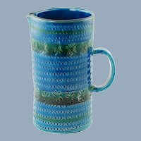 Vintage Italian Hand Decorated Ceramic Tall Pitcher with Incised Decoration After Aldo Londi for Bitossi Rimini Blu