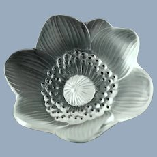 Vintage Lalique Crystal Anemone Paperweight with Black Enamel Accents