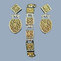 Vintage Anatoli Sterling Silver and Vermeil Filigree Drop Earrings and Link Bracelet