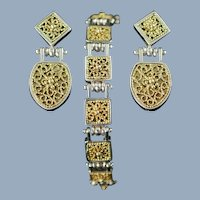 Vintage Anatoli Sterling Silver and Vermeil Filigree Drop Earrings and Link Bracelet