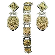 Vintage Anatoli Sterling Silver and Vermeil Filigree Drop Earrings and Link Bracelet Demi Byzantine Revival Style