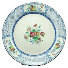 Large Antique Royal Cauldon China Floral Transferware Chop Plate