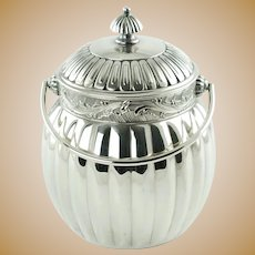 Antique Silver Plate Lidded Biscuit Barrel Cracker Jar with Swing Handle James W. Tufts Boston 355