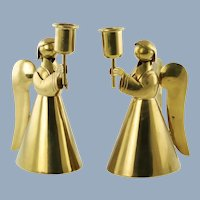 Vintage Salvador Teran for Los Castillo Cobre Artistico Handwrought Angel Form Brass Single Light Candle Holders