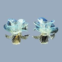 Vintage Vetreria Salviati Opalescent Murano Glass Floriform Candle Holders with Gold Fleck Accents