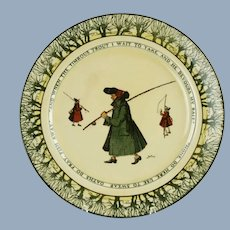 Antique Early Royal Doulton Isaac Walton Ware Gallant Fishers Plate by Charles Noke