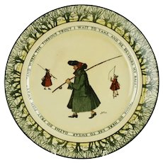 "Antique Charles Noke for Royal Doulton Gallant Fisherman Isaac Walton Ware 10.5"" Rack Plate with Tree Border"