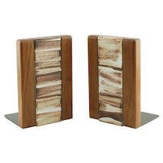 Vintage MCM Gordon and Jane Martz Walnut Bookends with Hand Painted Inlaid Tiles