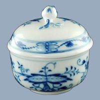 Vintage Meissen German Porcelain Blue Onion Lidded Bowl with Rose Finial