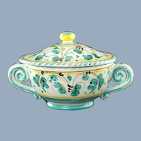Vintage Giuseppe Grazia Deruta Green Rooster Verde Gallo Majolica Double Handled Lidded Bowl