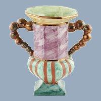 Vintage MacKenzie Childs Hopscotch Double Handled Vase Hand Painted Marbleized Finish