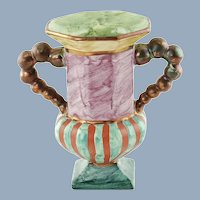 "Vintage MacKenzie Childs Hopscotch Double Handled Vase 7"" Hand Painted Marbleized Finish with Copper Lustre Accents"