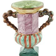 """Vintage MacKenzie Childs Hopscotch Double Handled Vase 7"""" Hand Painted Marbleized Finish with Copper Lustre Accents"""