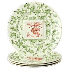 Vintage Mottahedeh England Bird and Fruit Adaptation of Creil Dessert Plates Set of 4
