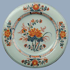 "Antique Continental Polychrome Faience Tin Glazed Earthenware Plate Imari Motif 9.5"""