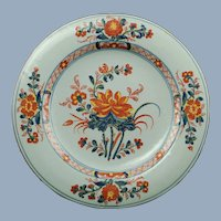 Antique 18th Centurty Continental Polychrome Faience Tin Glazed Earthenware Plate Imari Motif