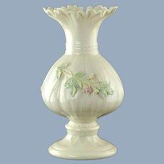 Vintage Belleek Irish Porcelain Vase with Applied Floral Decoration and Ruffled Rim