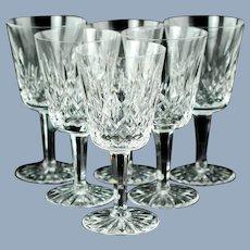 Vintage Waterford Irish Crystal Lismore Goblets Set of 6
