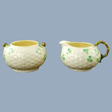 Vintage Belleek Irish Parian China Basketweave Shamrock Pattern Cream and Open Sugar Bowl Set