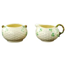 Vintage Belleek Irish Parian China Basketweave Shamrock Pattern Cream and Open Sugar Bowl Set