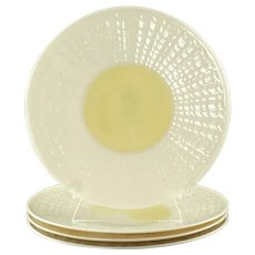 Vintage Belleek Neptune Yellow Bread and Butter Plates Set of 4
