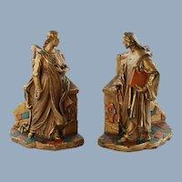 Antique Dante and Beatrice Electroform Polychrome Bookends Paul Mori & Sons Galvano Bronze