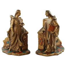 Antique Dante and Beatrice Electroform Polychrome Bookends Paul Mori & Sons Galvano Bronze