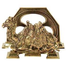 Antique Egyptian Revival Brass Camel Motif Letter Rack by Judd