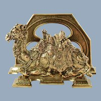 Vintage Egyptian Revival Brass Camel Motif Letter Rack by Judd