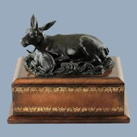 Vintage Maitland Smith Figural Bronze Cow and Calf on Embossed Leather Clad Wooden Plinth