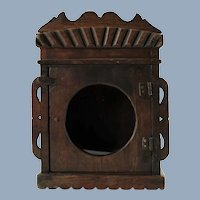 Antique Carved Wooden Watch Hutch with Glazed Circular Window and Hand Carved Decoration