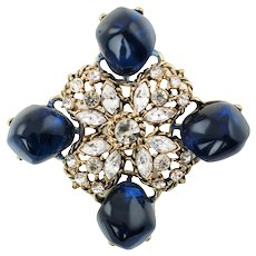 Large Vintage Kenneth Lane Runway Couture Pendant with Rhinestones and Blue Sapphire Gripoix Nugget Accents