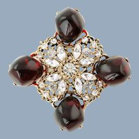 Large Vintage Kenneth Lane Pendant with Clear Rhinestones and Red Gripoix Polished Ruby Nugget Accents