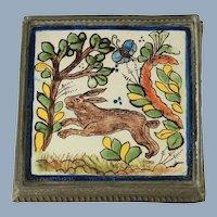 Vintage Hand Painted Tin Glazed Tile Trivet in Embossed Tin Frame with Rabbit Mottif