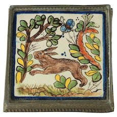 Vintage Hand Painted Tin Glazed Tile Trivet in Embossed Tin Frame with Rabbit Mottif