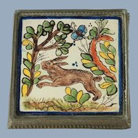 Antique Hand Painted Tin Glazed Tile Trivet in Embossed Tin Frame