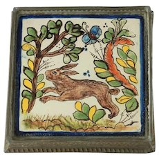 Antique Hand Painted Tin Glazed Tile Trivet in Embossed Tin Frame