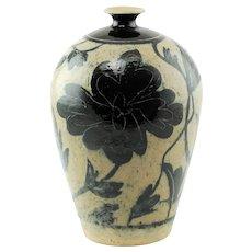 Vintage Marc Ward Sgraffito Salt Glaze Stoneware Bottle Form Vase