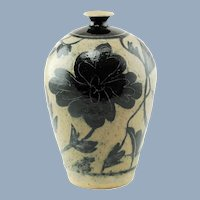 Vintage Marc Ward Sgraffito Salt Glaze Stoneware Vase with Cobalt Blue Floral Decoration