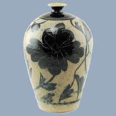 Vintage Marc Ward Sgraffito Salt Glaze Stoneware Vase with Cobalt Blue Floral Decoration