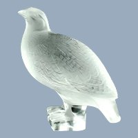 Vintage Lalique France Frosted Crystal Quail Perdrix Debout Figure