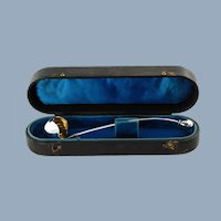 Antique Victorian Sterling Silver Ladle with Original Satin Lined Fitted Leather Case