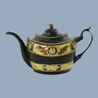 Antique Toleware Teapot with Nautical Motif and Floral Accents