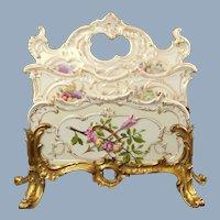 Antique 19th Century Helena Wolfsohn Dresden Porcelain Letter Rack Holder in Gilt Bronze Stand