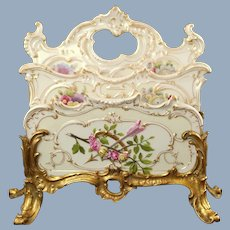 Antique 19th Century Helena Wolfsohn Dresden Hand Painted Porcelain 2-Slot Letter Rack Holder in Gilt Bronze Stand