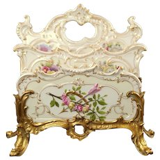 Antique 19th Century Helena Wolfsohn Dresden Porcelain Letter Rack Holder in Gilt Bronze Stand